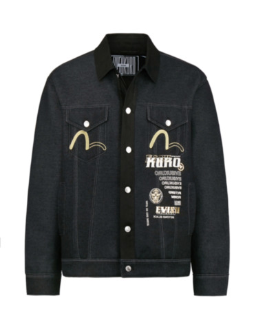 Hannya Skull and Logo Print Denim Jacket