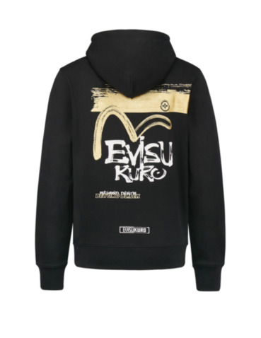 Calligraphy and Logo Print Hoodie