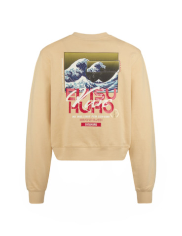 Ukiyo-E and Seagull Print Cropped Sweatshirt