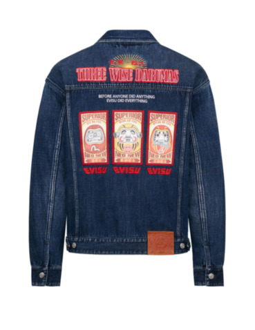 Three Wise Darumas Poster Denim Jacket