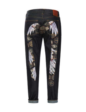 Feather Pattern Daicock Embroidered Carrot Fit Jeans 2017