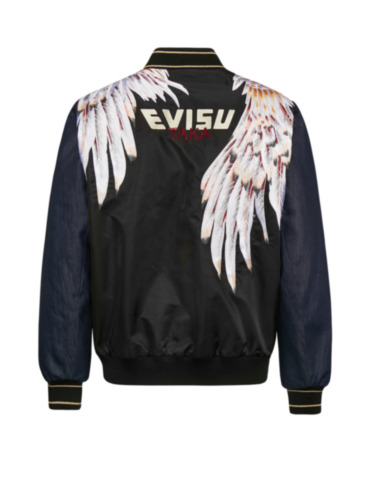 Feather Embroidered Fabric Blocking Padded Bomber Jacket