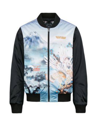 Allover Taka and Mount Fuji Print Bomber Jacket