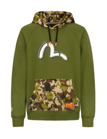 Color-blocking Seagull Print Hoodie