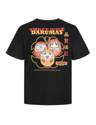 Three Wise Darumas and Seagull Print T-shirt
