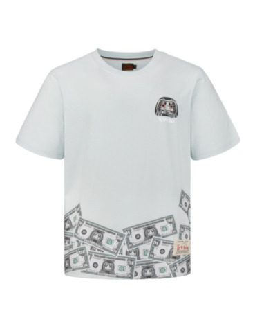 Banknote and Daruma Print T-shirt