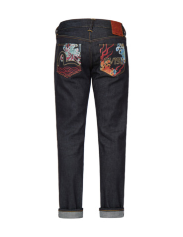 Chrysanthemum and Flame-pattern Pockets Slim Fit Jeans #2010