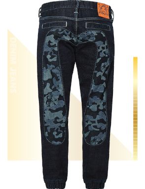 Denim Jogger Jeans with Discharge Camouflage Daicock Insert